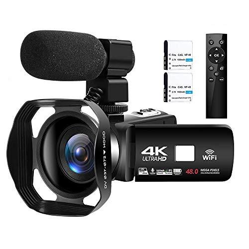 4K Camcorder Ultra HD Videokamera 48MP WiFi Vlogging...