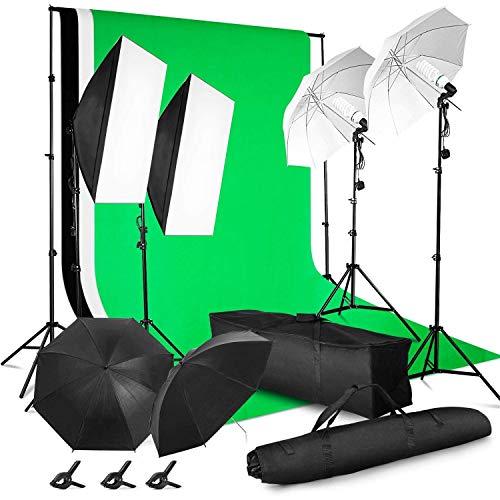 MVPower Profi Fotostudio Set inkl. 2 x 3m...